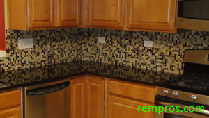 kitchen tile backsplash installed